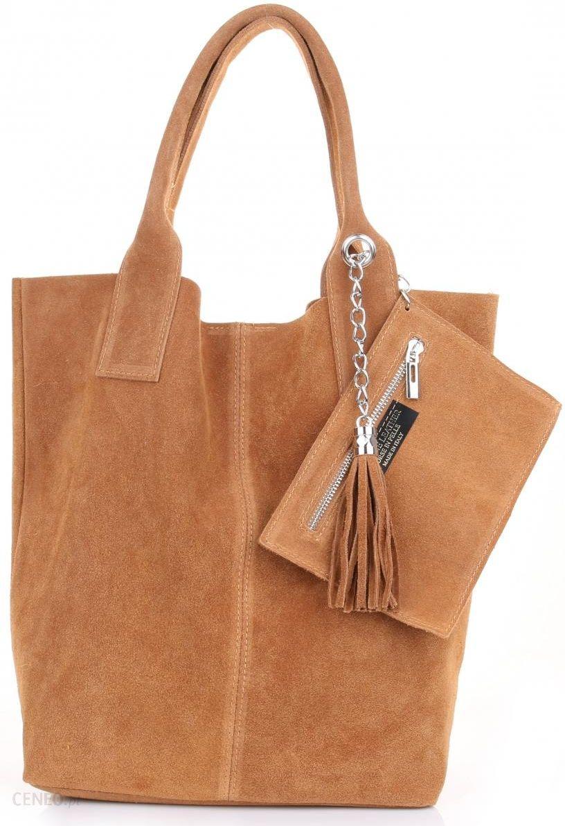 eced0e740e9ce Torebka skórzana Shopper bag zamsz naturalny Ruda (kolory) - Ceny i ...