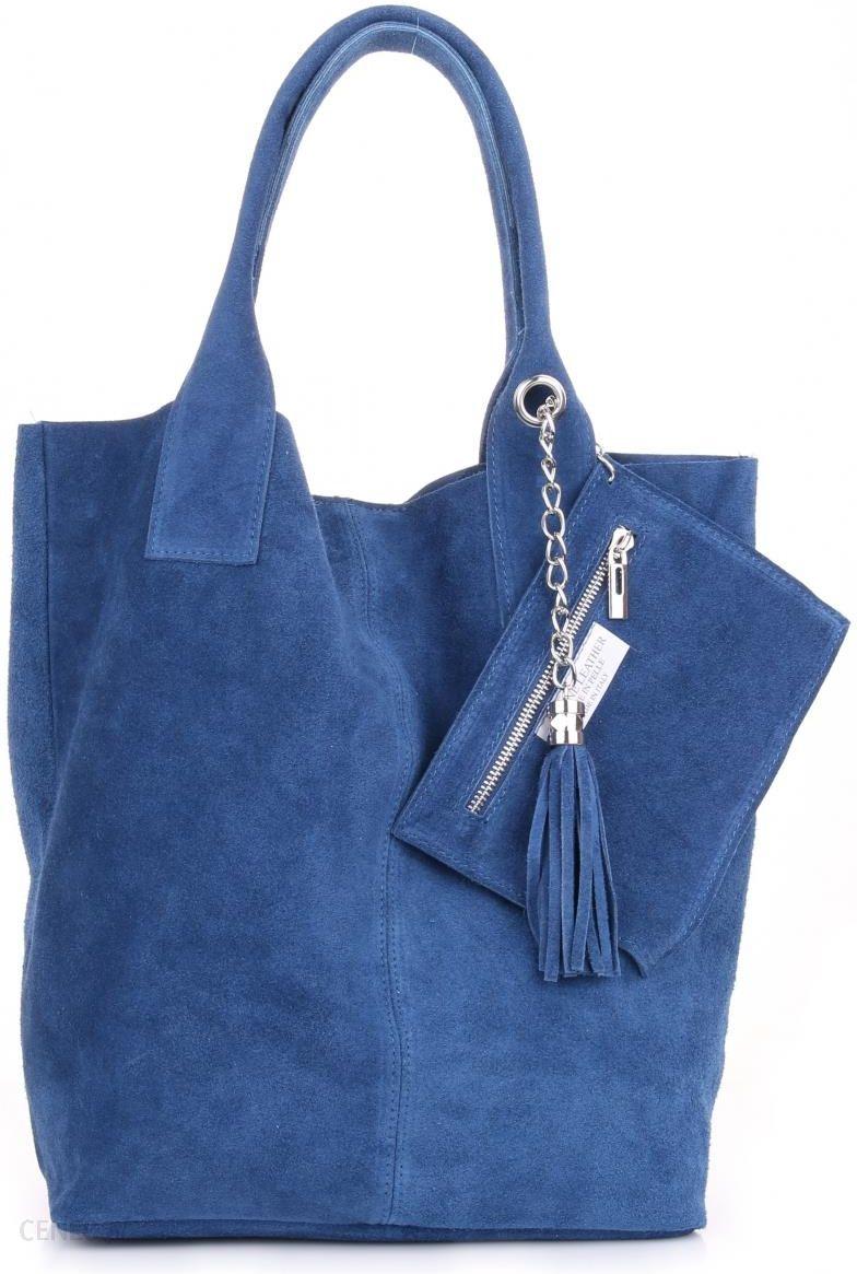 7457b7739d189 Torebka skórzana Shopper bag zamsz naturalny Niebieska (kolory) - zdjęcie 1