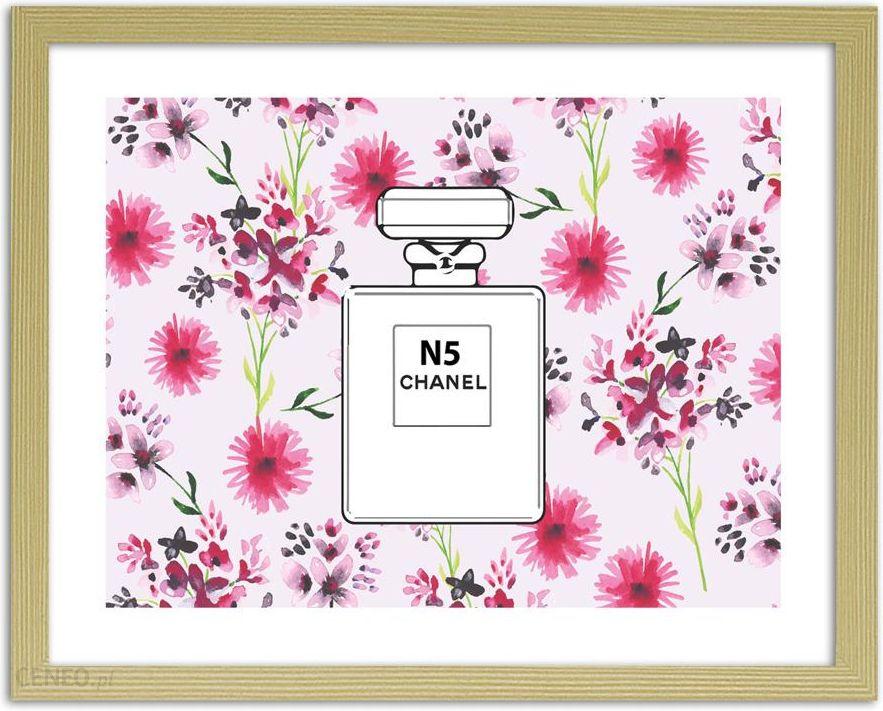 Perfumy Chanel N5 V2 Na Kwiecistym Tle Obrazy W Ramie Naturalny
