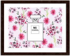 Perfumy Chanel N5 V2 Na Kwiecistym Tle Obrazy W Ramie Brązowy