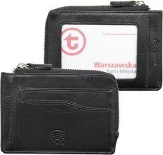 75662d8bab2f Mały skórzany portfel na karty zamykany na zamek - Czarny mat