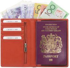 542db9865d43f Portfel podróżny na karty zbliżeniowe oraz paszport biometryczny - Czerwony