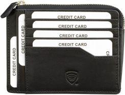 492800203884 Mały skórzany portfel na karty zamykany na zamek - Czarny połysk