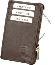 65a2b62d3a4fa Mały skórzany portfel na karty zamykany na zamek - Brąz mat