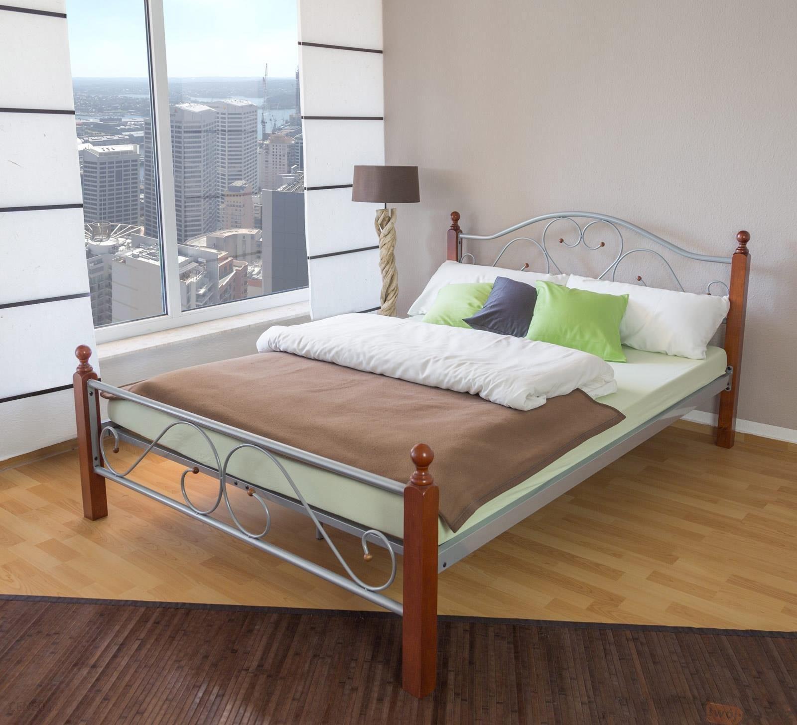 Homestyle4u łóżko Metalowe Podwójne 180x200 Kolor Srebrno