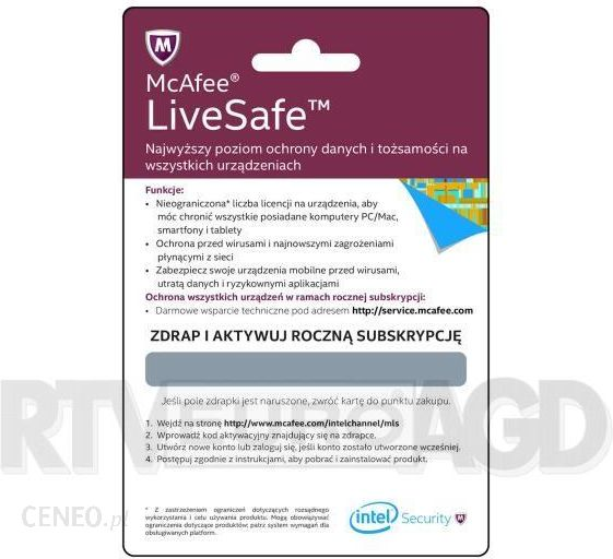 McAfee LiveSafe 1 Rok (MLSACTIVATIONCARD1YEARPL)