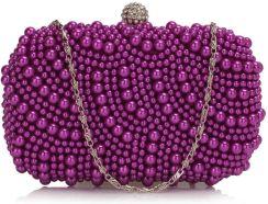 32c755e99b207 Fioletowa torebka wieczorowa z koralików - fioletowy
