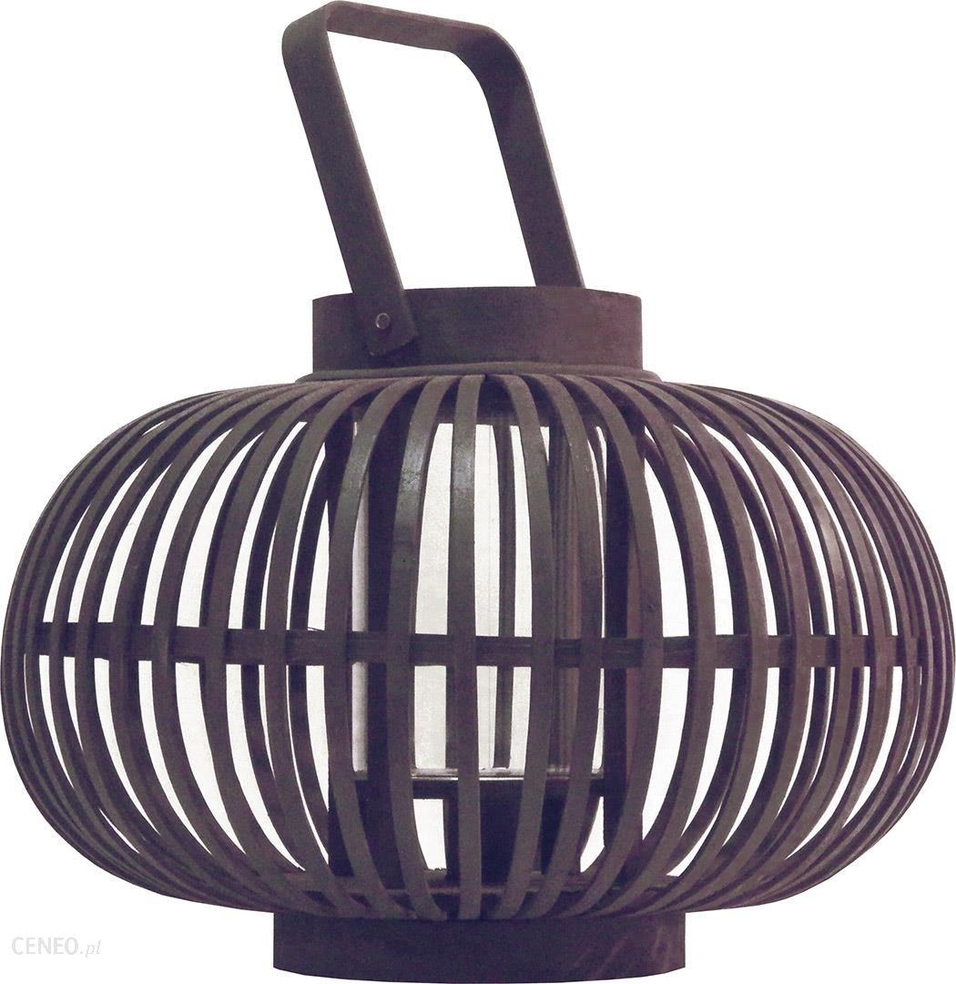 drewniany lampion o pękatej formie do postawienia lub