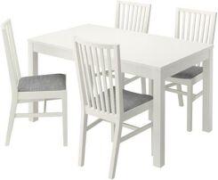 Ikea Bjursta Norrnas Stół 4 Krzesła Biały Isunda Szary 89046491