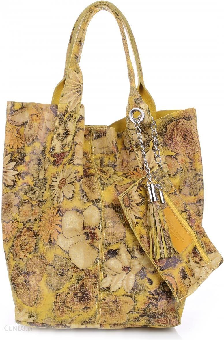 900c0112e547d VITTORIA GOTTI Made in Italy Torebka Skórzana Shopper Bag Kwiaty Multikolor  - Żółta (kolory)
