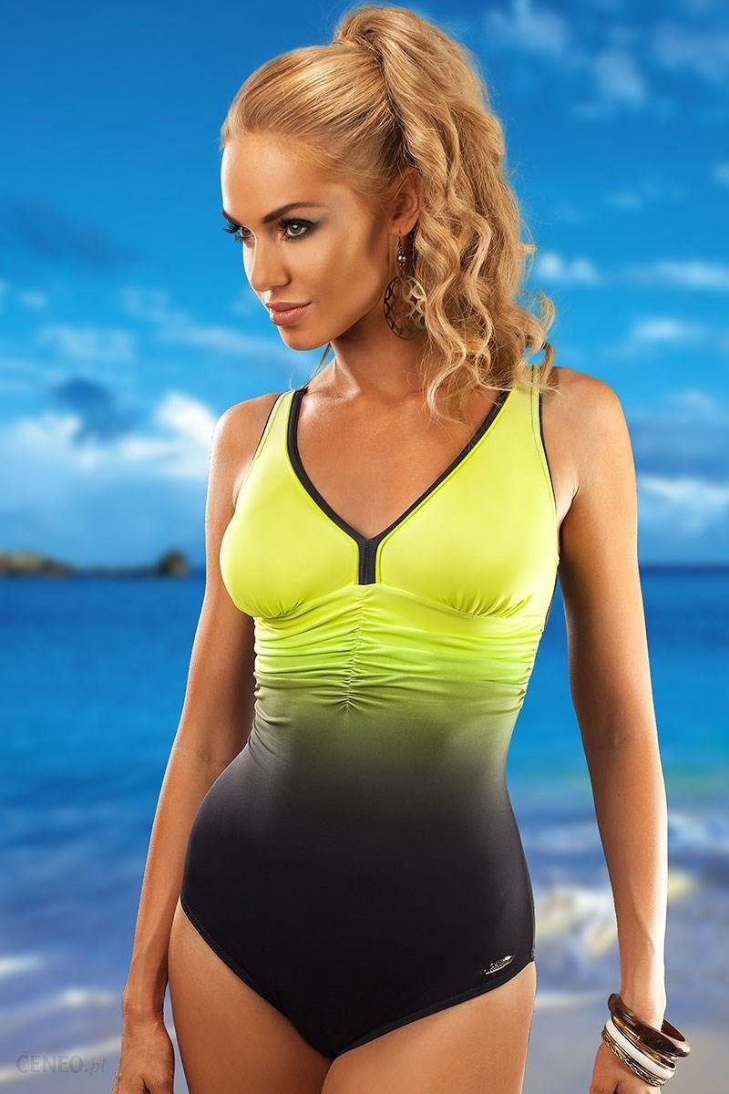 302806e42c3581 Aquarilla Jednoczęściowy kostium kąpielowy Belize Lemon szaro-żółty XXXL -  zdjęcie 1