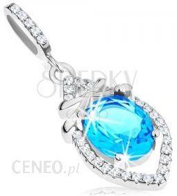 69b6a3cc5feb13 BiżuteriaE-Shop Zawieszka ze srebra 925, lazurowo niebieski owal, gładkie  prążki, przezroczyste