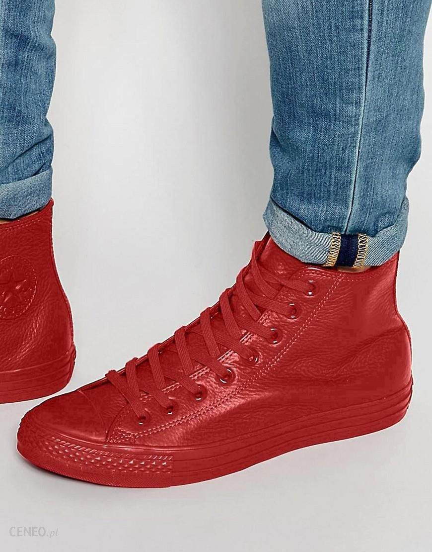 Converse Chuck Taylor All Star Leather Red Mono Hi Top Shoes