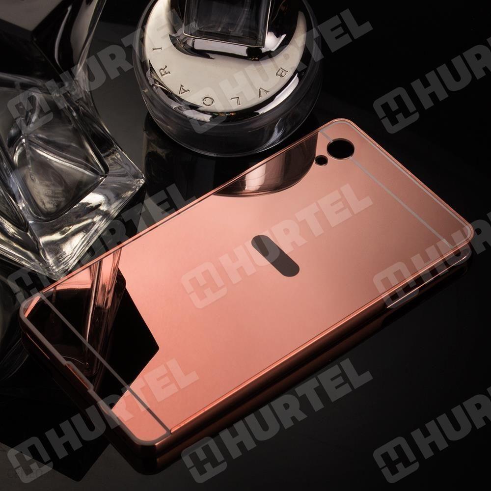 New Aluminiowe Etui Lusterko Metal Mirror Bumper Sony Xperia M4 Aqua E2303 Różowe - Różowy -