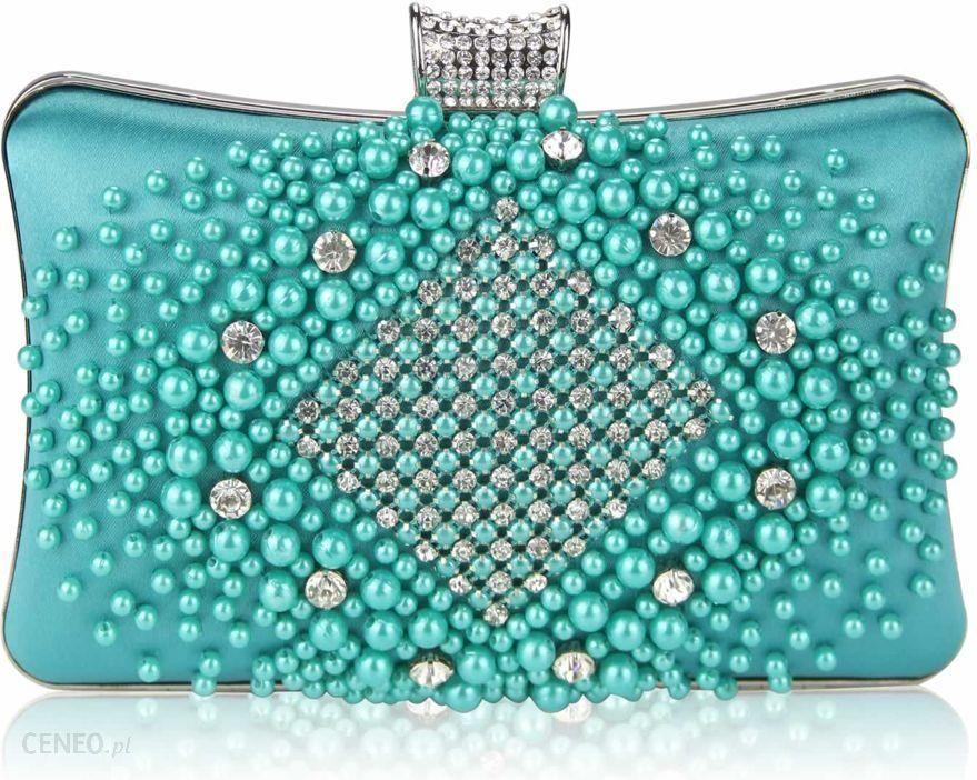 2af7513e552e3 Turkusowa torebka wizytowa zdobiona perłami i kryształkami - turkusowy -  zdjęcie 1