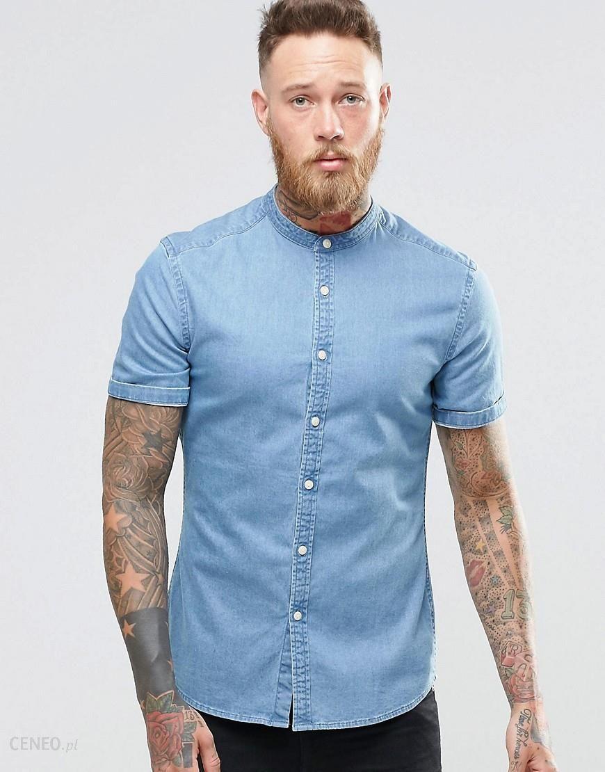 7882a1bd251 ASOS Skinny Denim Shirt In Mid Wash With Grandad Collar In Short Sleeve -  Blue -