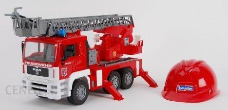 Bruder Man straż pożarna z drabiną. pompą. światłami i sygnałami + kask czerwony 01981
