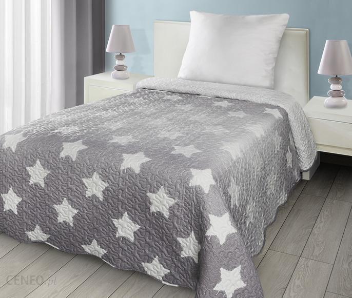 Eurofirany Narzuta Na łóżko 170x210 Stars Szara Enstarsszara1