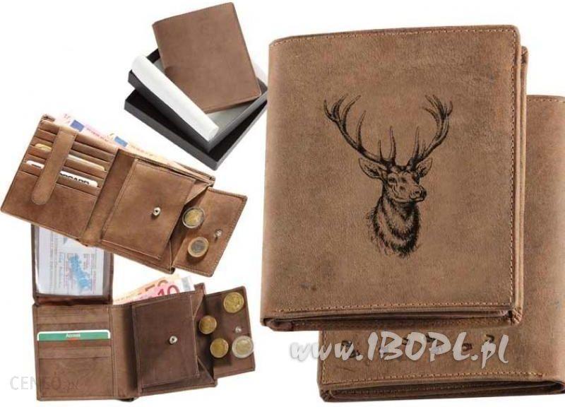 72baa705e48cc Skórzany portfel pionowy z motywem głowy jelenia - Ceny i opinie ...