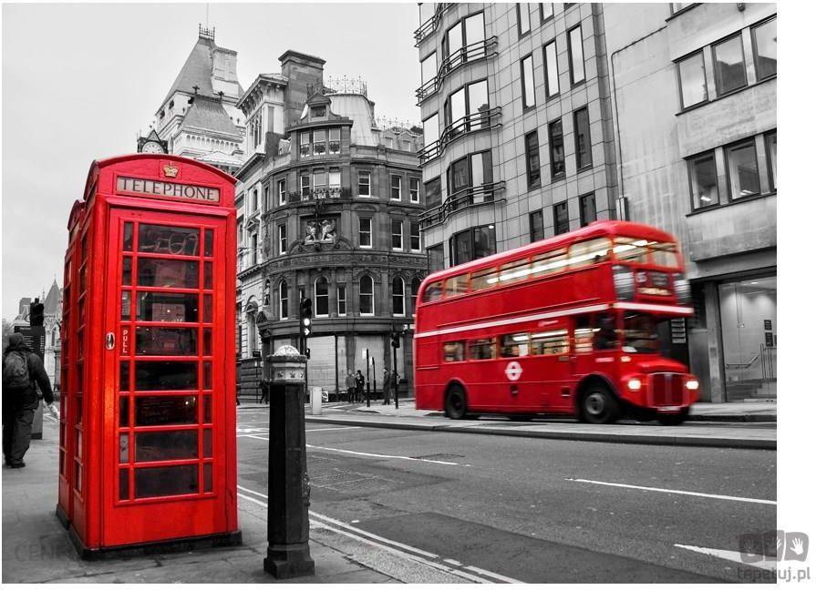 fototapeta londyn czerwony autobus i budka telefoniczna 100404 6 opinie i ceny na. Black Bedroom Furniture Sets. Home Design Ideas