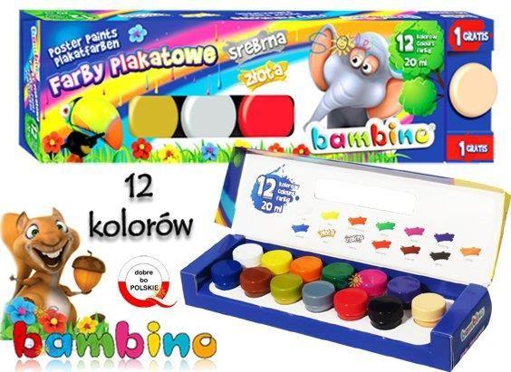 Farby Plakatowe 12 Kolorow Bambino Zlota Srebna Ceny I Opinie