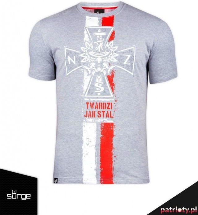 Koszulka patriotyczna Krzyż NSZ flaga (JASNY MELANŻ) S