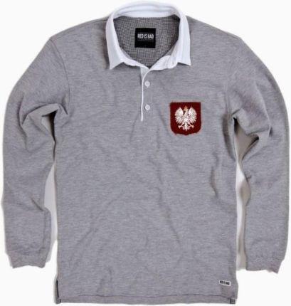 5a4707f02 Rugby polo z ręcznie podniszczaną tarczą z Polskim Orłem - szara XL. Kup  teraz. Koszulka męska Red is badRugby ...