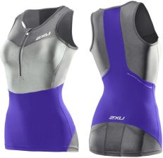 2XU Women's G:2 Compression  Tri Singlet - Purple Hue/Charcoal - L - zdjęcie 1