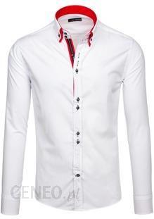 Biało czerwona koszula męska elegancka z długim rękawem  MzRAE