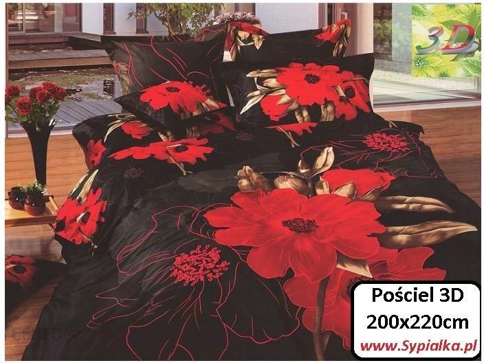 Collection World Pościel 3d Czarna W Czerwone Kwiaty 200x220