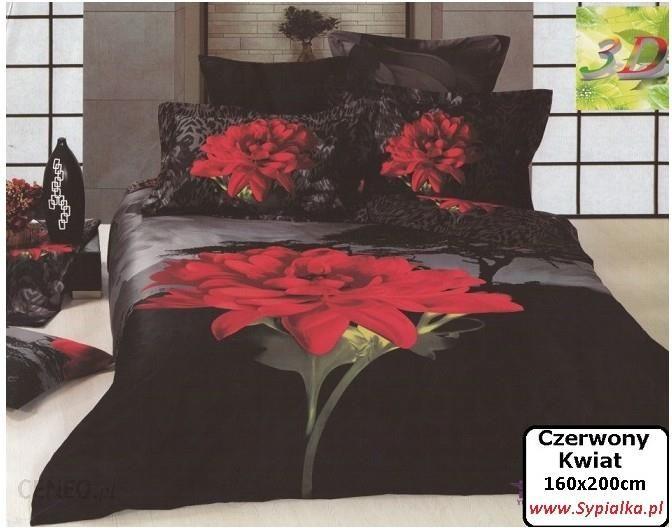 Collection World Pościel 3d Czarna Czerwony Kwiat Bawełna Satynowa