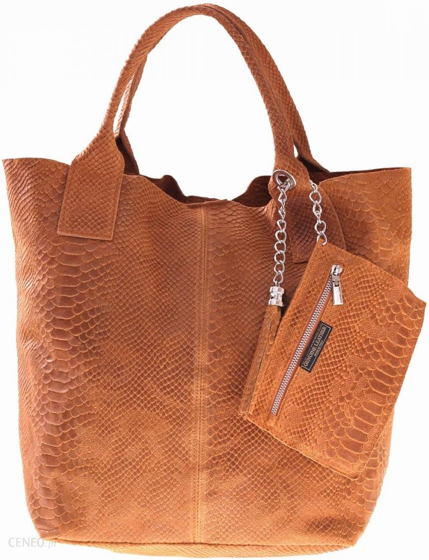 556e338b14ba2 Shopperbag torebka Skórzana wzory 3D Ruda (kolory) - Ceny i opinie ...