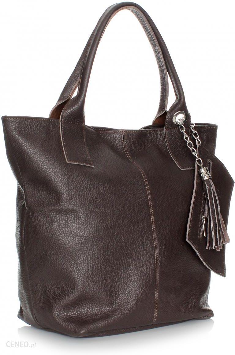 509e89f5fab09 Uniwersalna Torebka Skórzana typu Shopperbag z Zamkiem Czekolada (kolory) -  zdjęcie 1