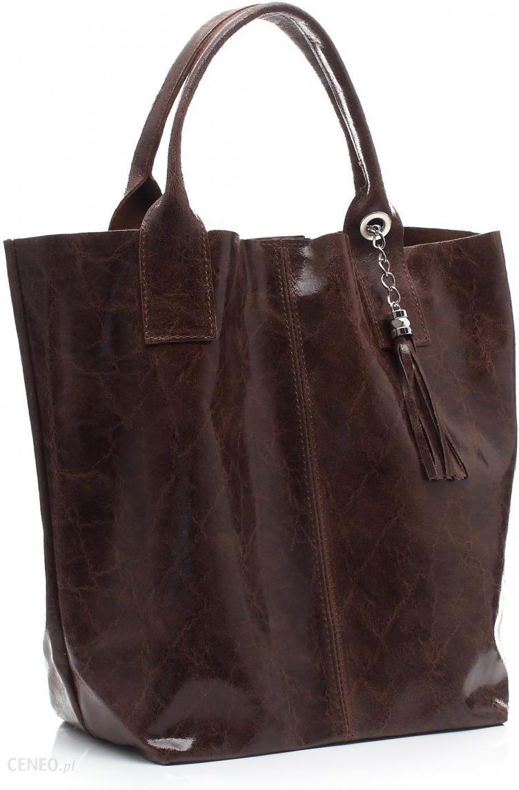 cebe552cb0f34 Elegancki Shopperbag Genuine Leather Lakierowana Skóra Brązowa (kolory) -  zdjęcie 1