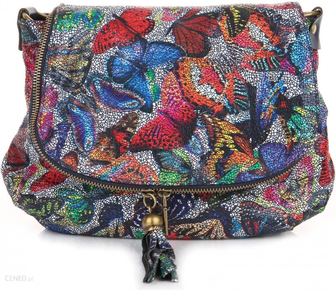 d2d374b5a1868 Modna Torebka Skórzana Listonoszka w Motyle Multikolor Granat (kolory) -  zdjęcie 1