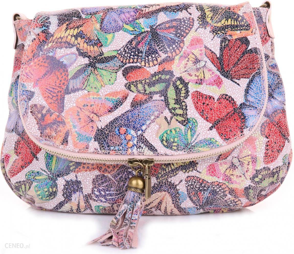 0edc80e49b9fd Modna Torebka Skórzana Listonoszka w Motyle Multikolor Różowa (kolory) -  zdjęcie 1