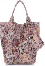 4cafdfe6ee1cc VITTORIA GOTTI Made in Italy Torebka Skórzana Shopper Bag Kwiaty Multikolor  - Ziemista (kolory) ...