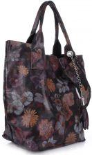 c68246a3c6b24 VITTORIA GOTTI Made in Italy Torebka Skórzana Shopper Bag Kwiaty Multikolor  - Czarna (kolory) ...