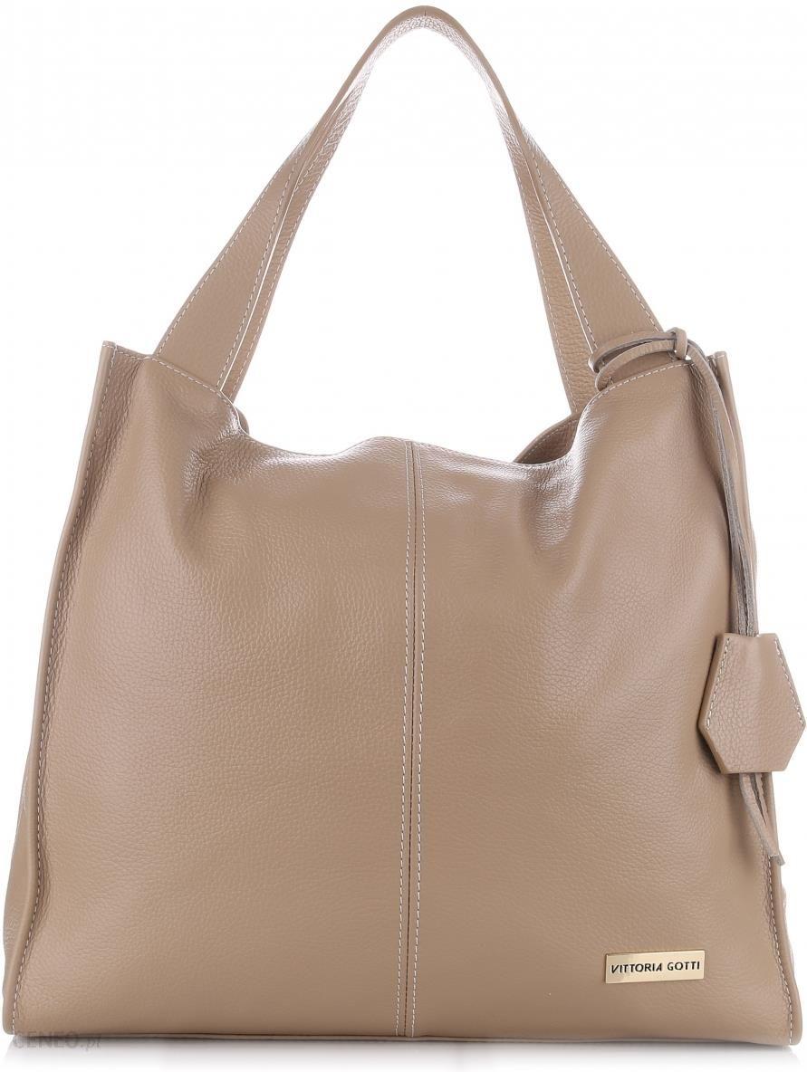 2031927e9c7bf VITTORIA GOTTI Made in Italy Duża Torba Skórzana Shopperbag Beżowa (kolory)  - zdjęcie 1