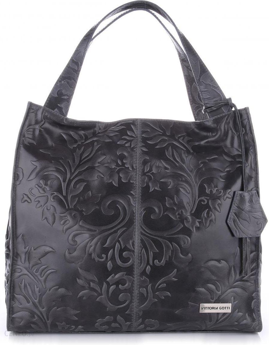 aa06c5f5ffa1a VITTORIA GOTTI Made in Italy Duża Torba Skórzana Shopperbag XXL w Tłoczone  Wzory Szara (kolory