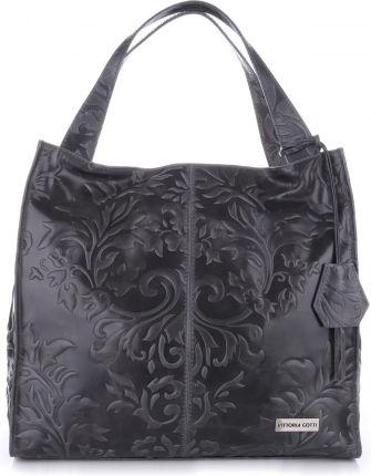 e2fef715f1439 VITTORIA GOTTI Made in Italy Duża Torba Skórzana Shopperbag XXL w Tłoczone  Wzory Szara (kolory ...