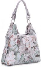 bdf7209260410 VITTORIA GOTTI Made in Italy Modna Torebka Skórzana w Kwiaty Multikolorowa  Szara (kolory) ...
