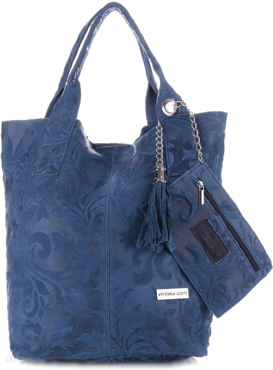 a51fbbbe996bc VITTORIA GOTTI Made in Italy Torebka Skórzana Shopperbag w Tłoczone Wzory  Niebieska (kolory) -