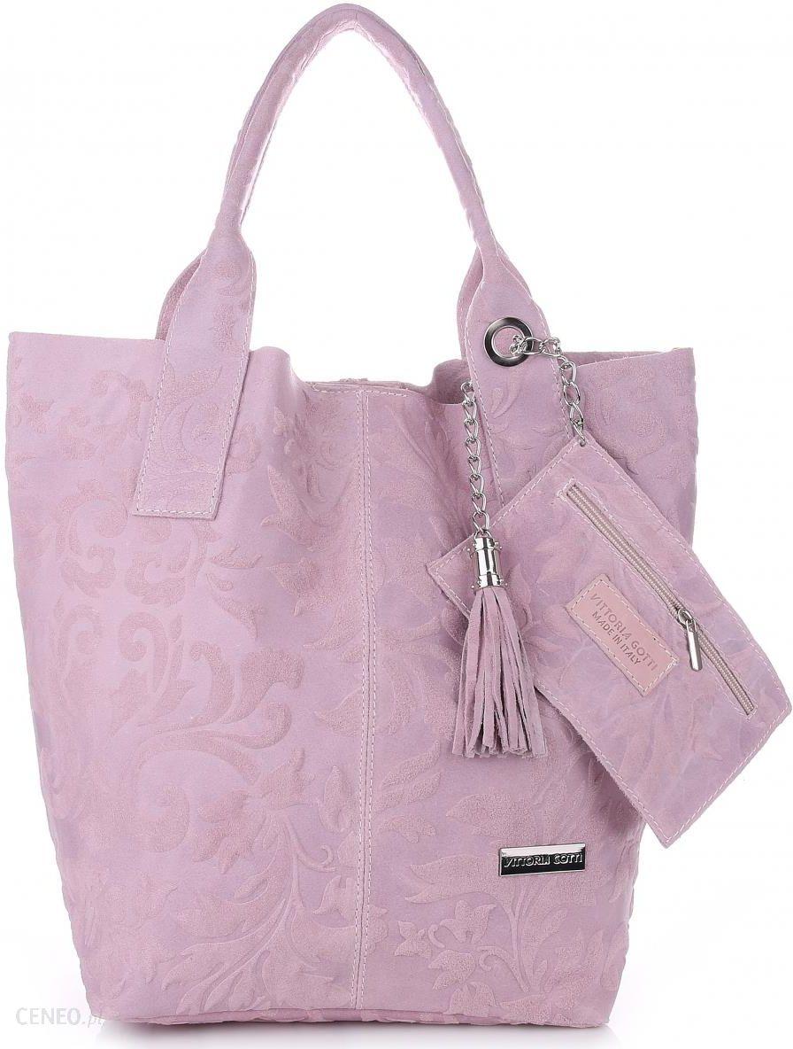 cac792ba22169 VITTORIA GOTTI Made in Italy Torebka Skórzana Shopperbag w Tłoczone Wzory  Pudrowy Róż (kolory)