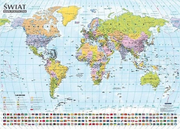 Podrecznik Szkolny Swiat Mapa Polityczna I Krajobrazowa