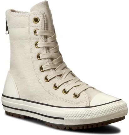 Trampki CONVERSE - Ctas Hi-Rise Boot Leather+Fur 553389C Parchment/Black/Egret