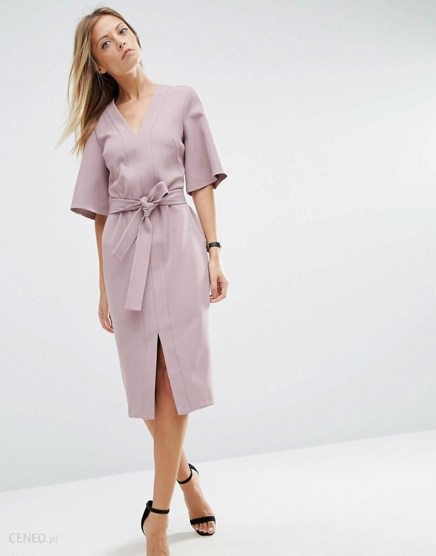 Asos Clean Obi Wrap Dress With V Front Purple Ceneo Pl