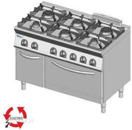 Tecnoinox Kuchnia Gazowa 6 Palnikowa Z Piekarnikiem Elektrycznym Gn