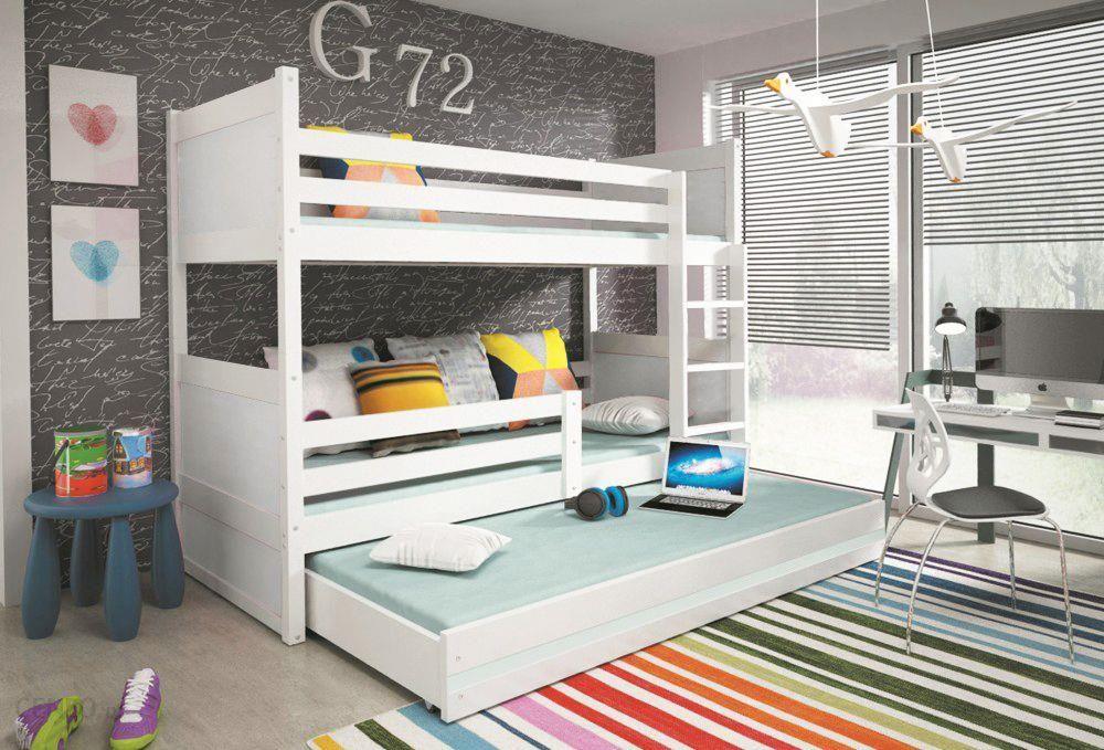 Bms łóżko Piętrowe 3 Osobowe Rico Biały 80200 Cm