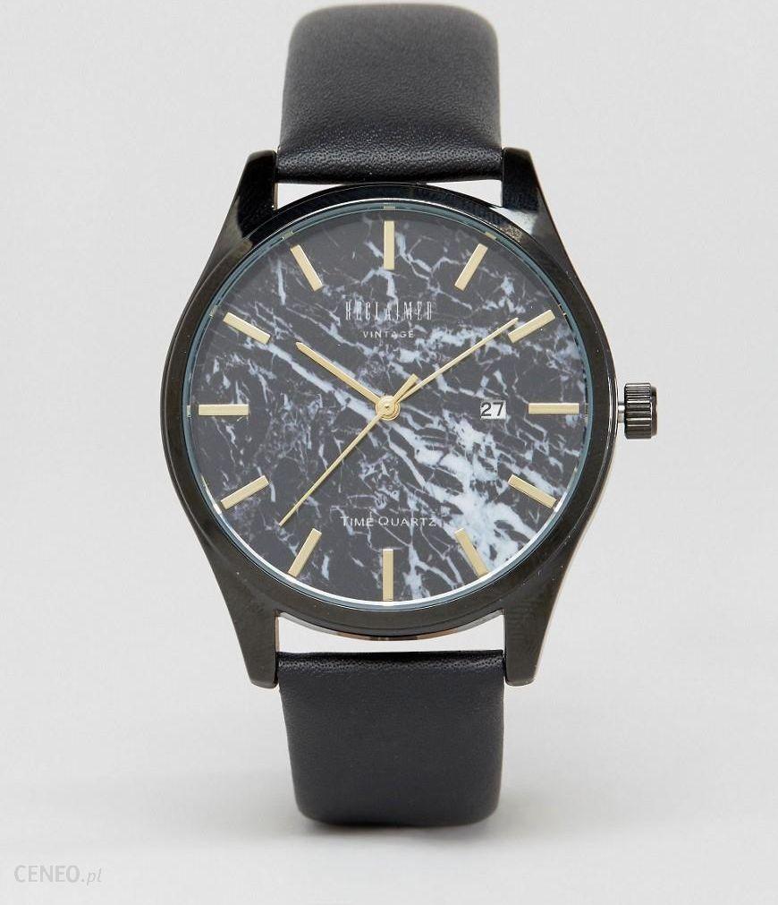 29394760506 Reclaimed Vintage Marble Leather Watch In Black - Black - zdjęcie 1